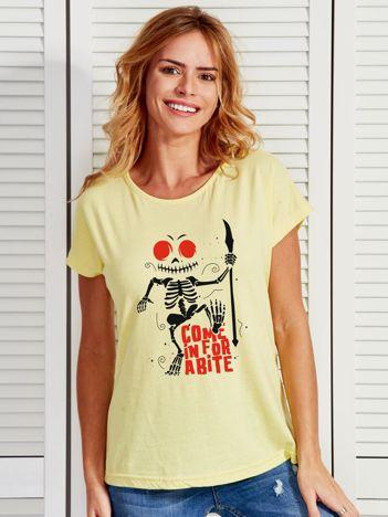 Jasnożółty t-shirt Halloween z nadrukiem