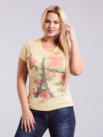 Jasnożółty t-shirt z nadrukiem PLUS SIZE