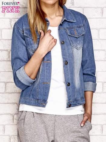 Jeansowa kurtka z cekinową wstawką niebieska