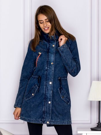 Jeansowa kurtka z kolorowymi suwakami niebieska