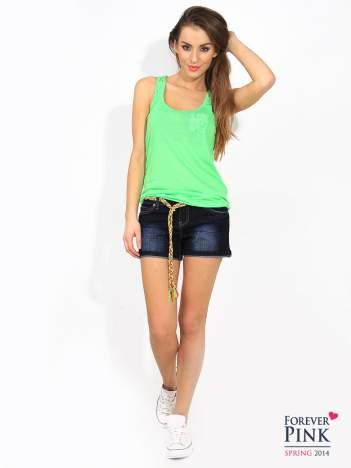Jeansowe szorty z kolorowym troczkiem granatowe