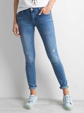 Jeansy regular damskie niebieskie