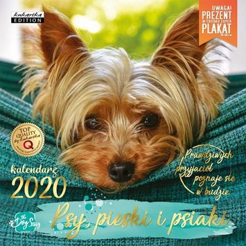 KUKARTKA Kalendarz ścienny na rok 2020 PSY + plakat 60x30 cm