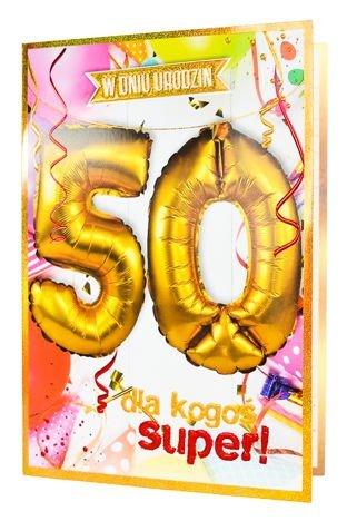 KUKARTKA Kartka urodzinowa 50 lat oraz zestaw balonów 40 cm do nadmuchania w jednym