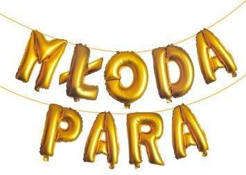 KUKARTKA Zestaw złotych balonów do nadmuchania tworzących napis Młoda Para