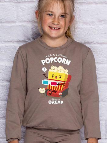 Kawowa bluza dziecięca POPCORN