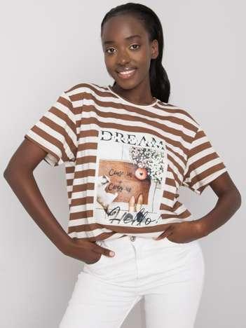 Kawowo-biały t-shirt z nadrukiem Juliana