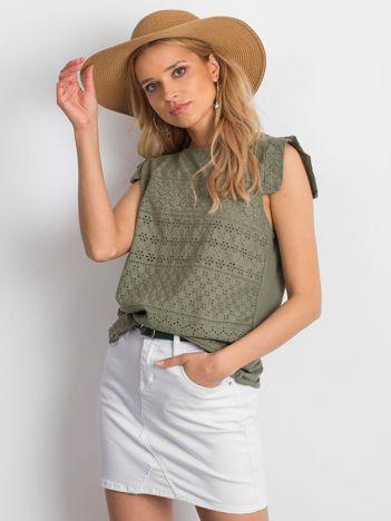Khaki ażurowana bluzka damska