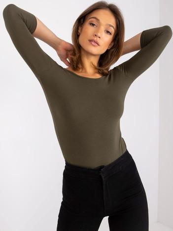 Khaki bawełniana bluzka basic