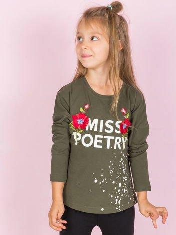 Khaki bawełniana bluzka dla dziewczynki