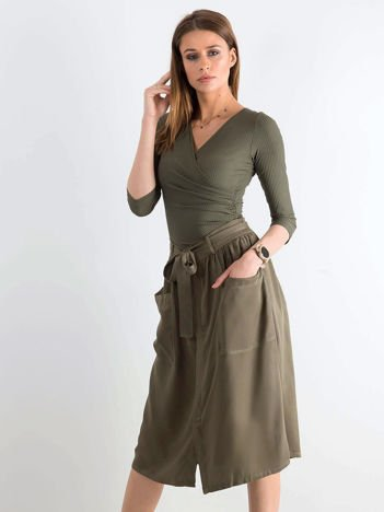 Khaki bawełniana spódnica z kieszeniami