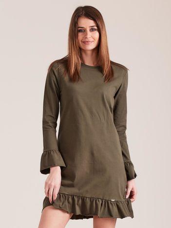 Khaki bawełniana sukienka z falbanką