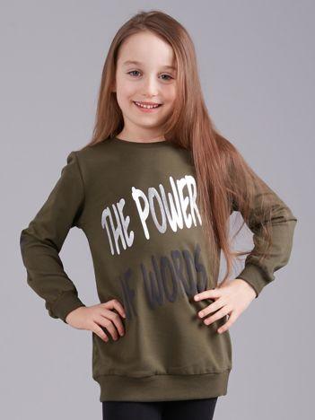 Khaki bluza dziewczęca z nadrukiem i aplikacją