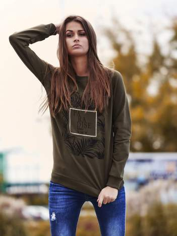 Khaki bluza z napisem PARADISE