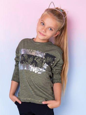 Khaki bluzka dla dziewczynki z nadrukiem i aplikacją