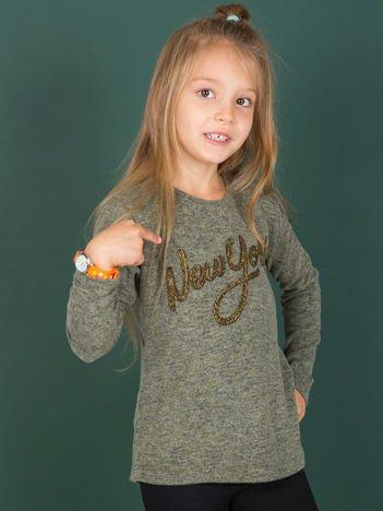 Khaki bluzka dla dziewczynki z napisem