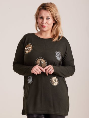 Khaki bluzka z aplikacją i perełkami PLUS SIZE