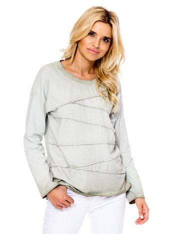 Khaki bluzka z asymetryczymi przeszyciami