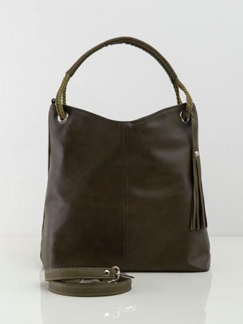 Khaki damska torba miejska ze skóry ekologicznej