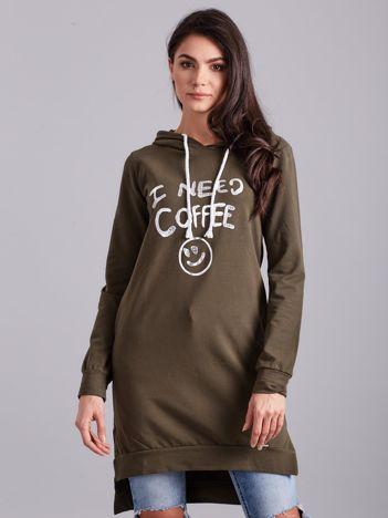Khaki długa bluza z kapturem I NEED COFFEE