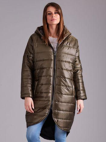 Khaki długa kurtka przejściowa