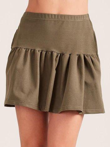 Khaki dresowa spódnica z falbaną