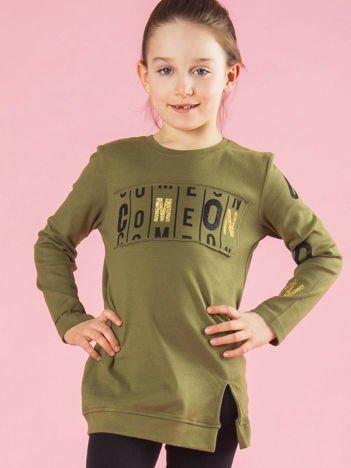 Khaki dziewczęca tunika z nadrukiem i aplikacją