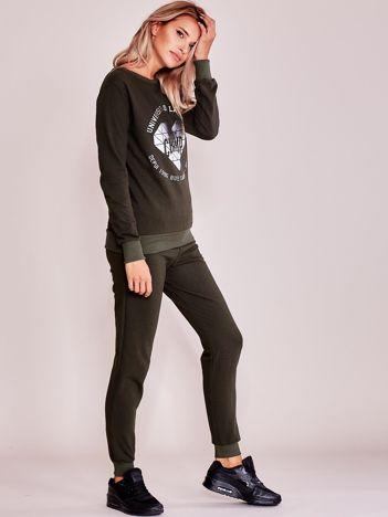Khaki komplet dresowy bluza + spodnie