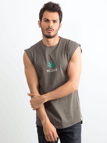 Khaki koszulka męska z nadrukiem