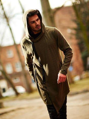 Khaki melanżowa bluza męska z asymetrycznym suwakiem