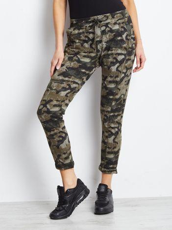 Khaki moro spodnie dresowe z kieszeniami