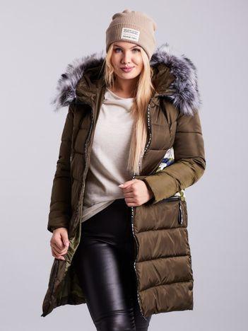 Khaki pikowana kurtka zimowa PLUS SIZE