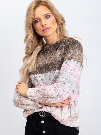 Khaki-różowy sweter Amelia