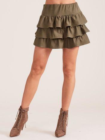Khaki spódnica mini z falbanami