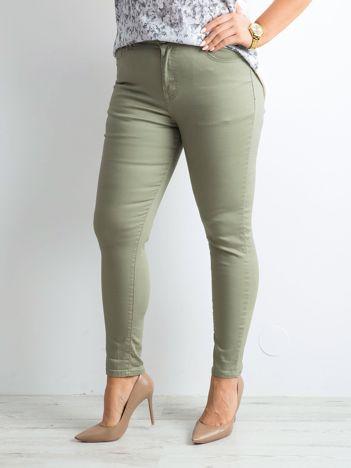 Khaki spodnie rurki PLUS SIZE
