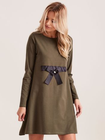 Khaki sukienka bawełniana z kokardą
