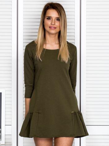 Khaki sukienka dresowa z falbankami