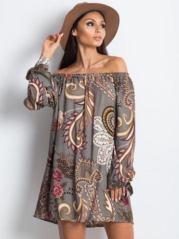 Khaki sukienka hiszpanka we wzory