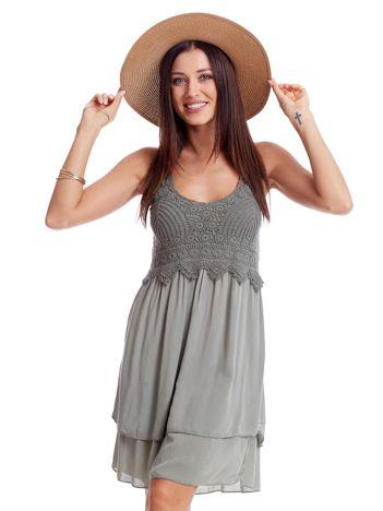 Khaki sukienka na cienkich ramiączkach
