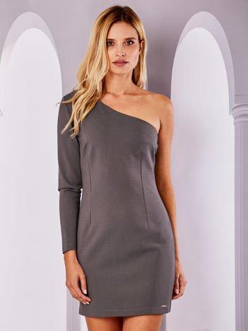 Khaki sukienka na jedno ramię