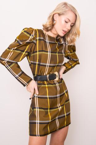Khaki sukienka w kratę BSL