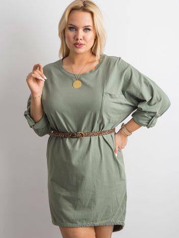 Khaki sukienka z bawełny