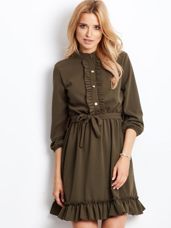 Khaki sukienka z falbankami