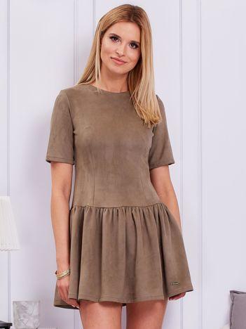 Khaki sukienka z obniżonym stanem