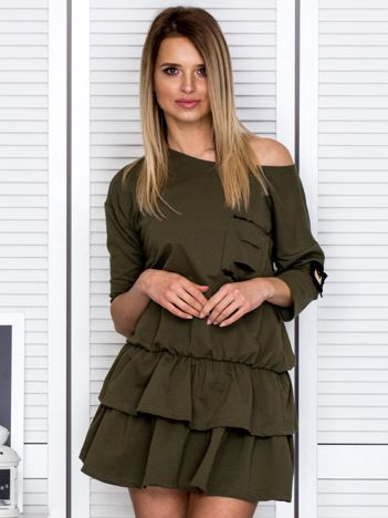 Khaki sukienka z warstwowymi falbanami