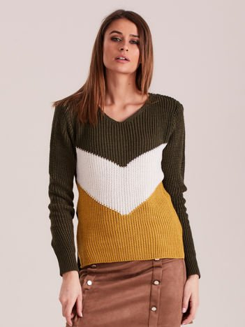 Khaki sweter color block