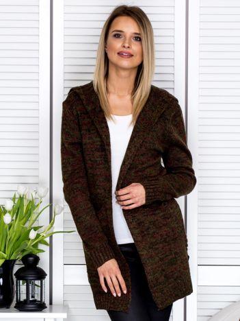 Khaki sweter damski z kapturem