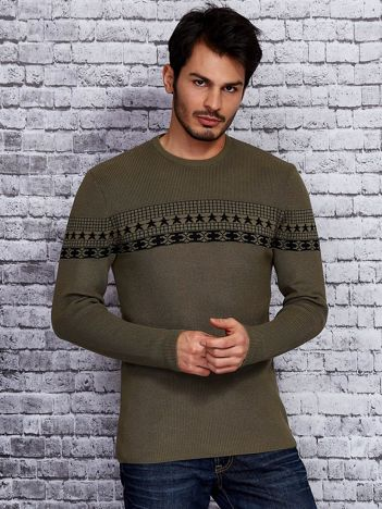 Khaki sweter męski ze wstawką we wzory