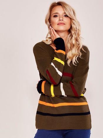 Khaki sweter w kolorowe paski