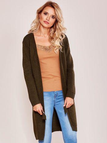 Khaki sweter w prążki